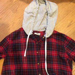 Forever 21 flannel with sweatshirt hood